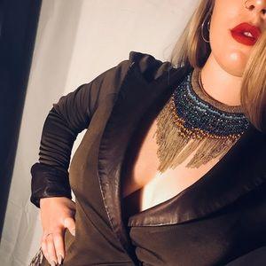 ⭐️Vintage⭐️ Leather Trimmed Shirt US 8